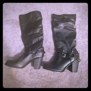 NWT Mia Women's Black Leather Biker Boots